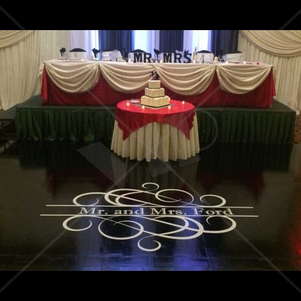 Dance Floor Monogram Vinyl Decal Decor For Bar Bat Mitzvah