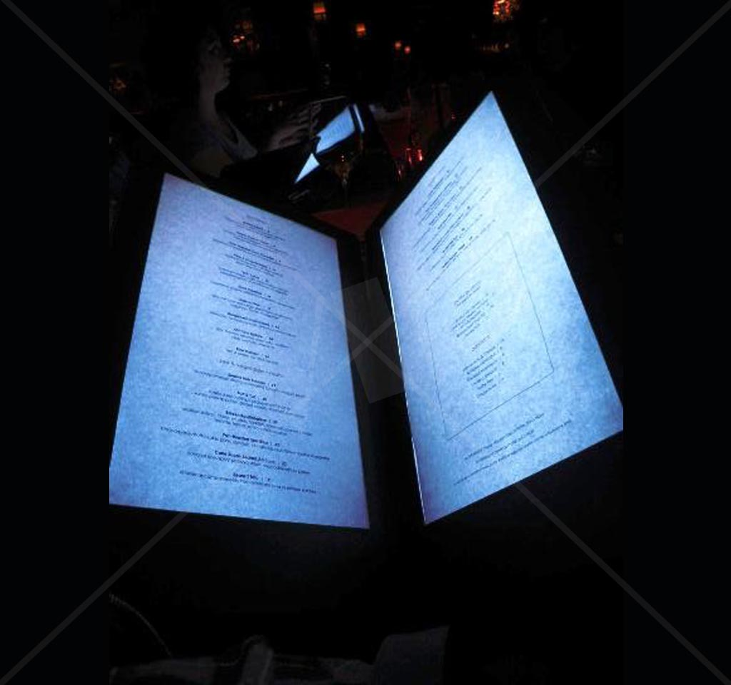 led menu illuminated 11 x 5 5 in back lit glow menu night club supplies. Black Bedroom Furniture Sets. Home Design Ideas