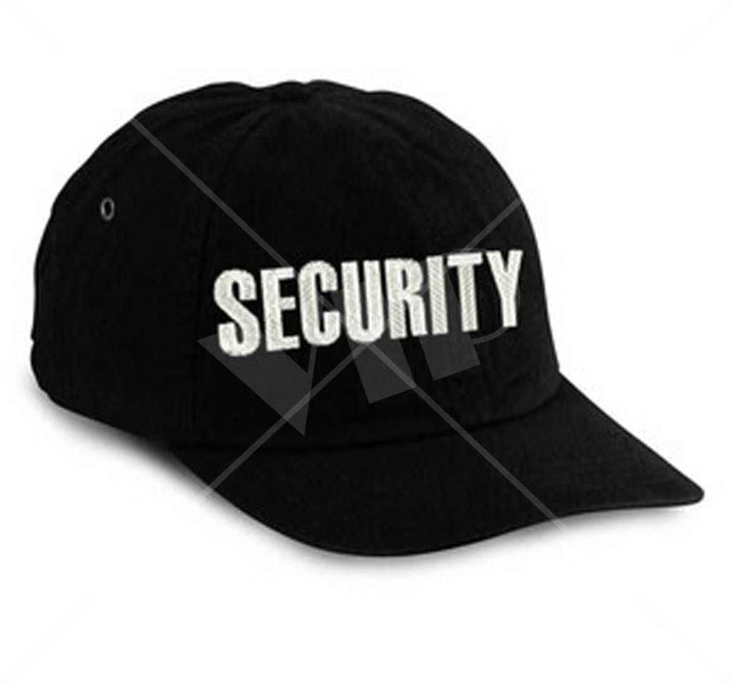 Black Embroidered Security Hat Night Club Supplies